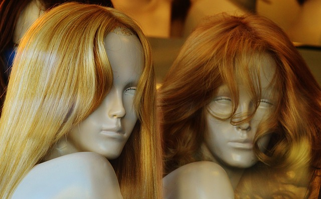 Two mannequins with blonde hair wigs